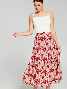 Tiered Belted Midi Skirt