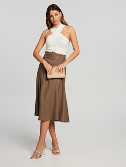 Belted Circle Midi Skirt
