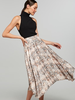 Perfect To Me Snake Midi Skirt
