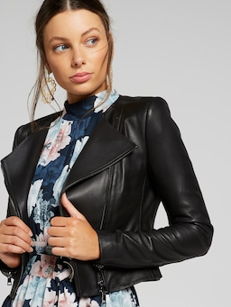 J'adore Crop Leather Jacket