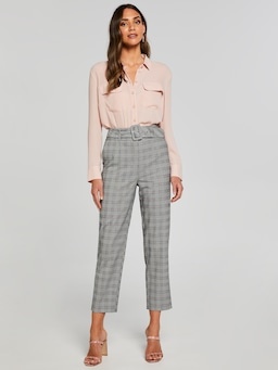 Pink Check Belted Pant