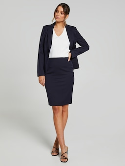 Never Say Never Navy Suit Skirt
