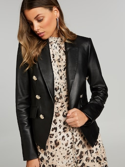 I Worship Crop Leather Blazer