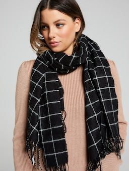 Grid Check Woven Scarf