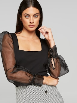 Square Neck Organza Sleeve Top