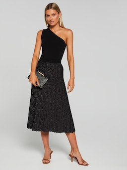 Electra Pleated Lurex Skirt