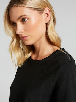 Allie Zip Shoulder Knit