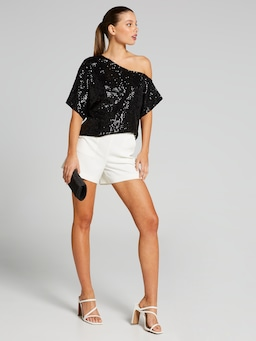 Lets Get Loud Sequin Off Shoulder Top