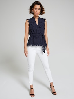 Emma Eyelet Button Front Top