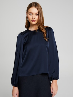 Satin Billow Sleeve Blouse