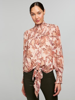 Knot Front Shirred Neck Top