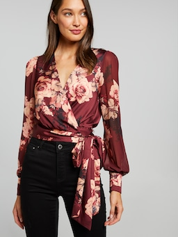 Mocha Bouquet Satin Wrap Top