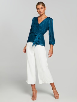 Sally Self Stripe Wrap Top