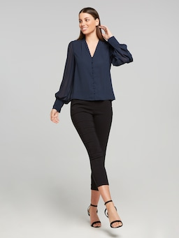 Sheer Blouson Sleeve Button Top