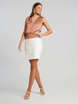 Shirred Hem Button Front Top