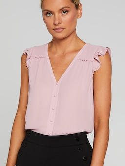 Trim Detail Button Down Top