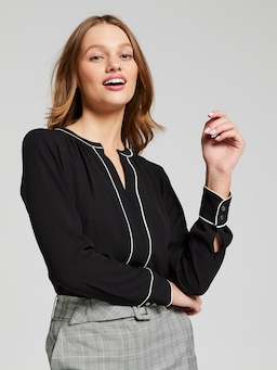 Chicago Contrast Piping Long Sleeve Shirt