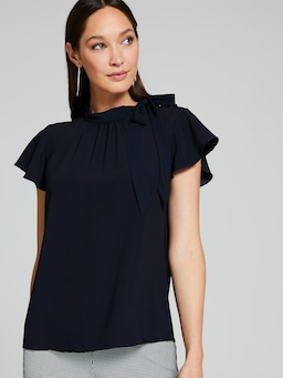 Satin Back Crepe Tie Blouse
