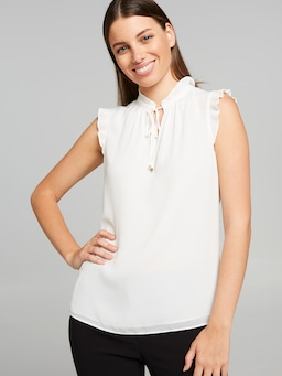 Daisy Pleat Detail Tie Neck