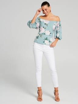 Bell Lace Insert Off Shoulder Top