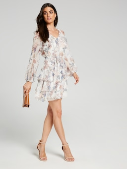 Evelyn Flute Sleeve Soft Dress