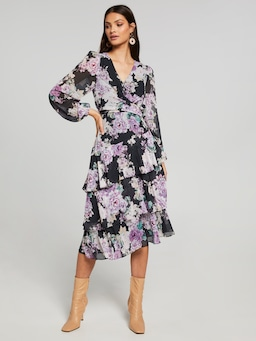 Sarah Tie Layered Midi Dress