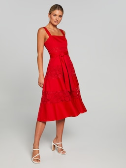 Cora Lace Splice Midi Dress