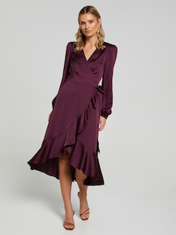 Winter Wonder Satin Wrap Dress