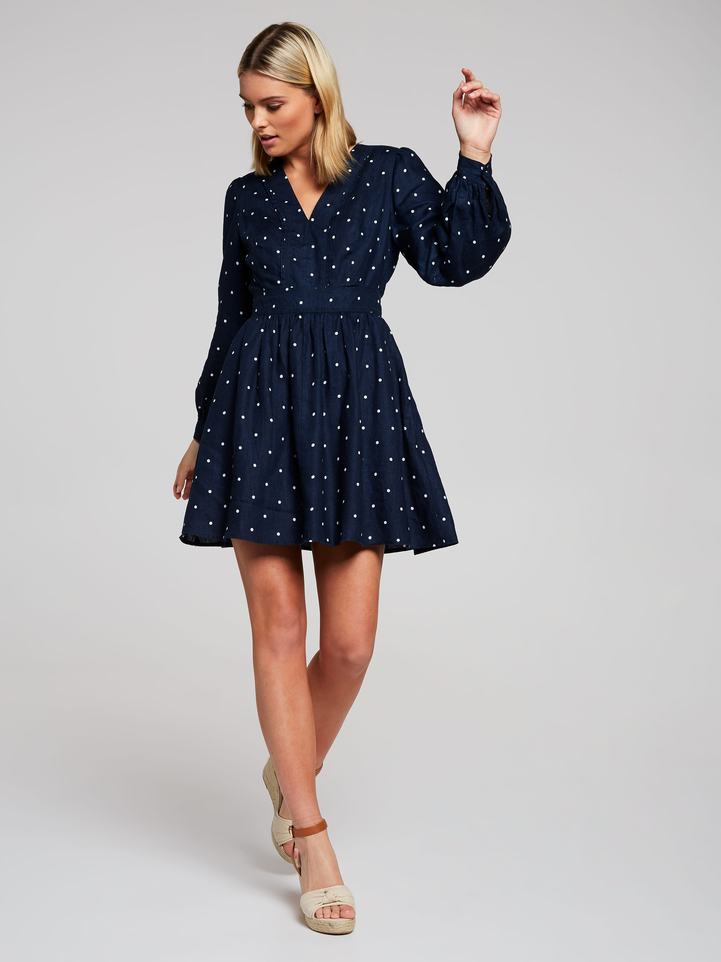 Harper Spot Linen Shirt Dress Portmans Online