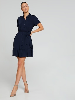 Lana Ruffle Shirt Dress
