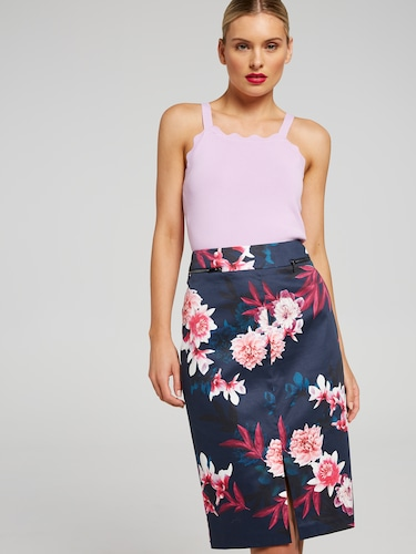 Bright Blooms Sateen Skirt
