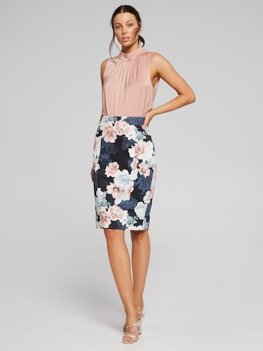 Dusk Floral Sateen Skirt