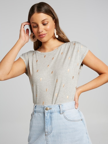 Tuck Shoulder Foil Tee