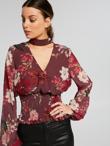 Jasmine Shirred Hem High Neck Blouse