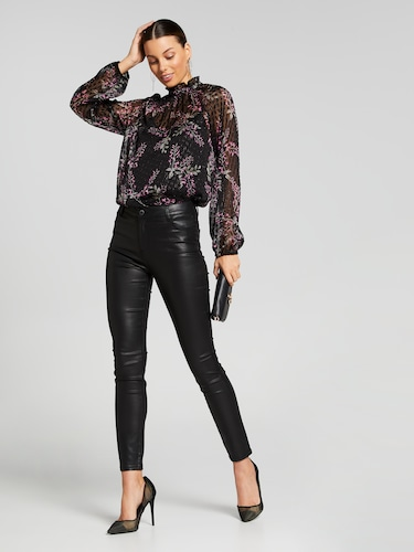 Metallic Fleck Printed High Neck Top
