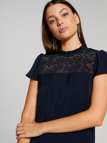 Lottie Lace Insert High Neck Top