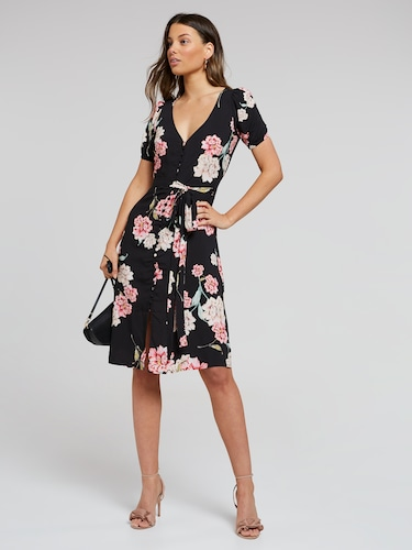 Havana Button Through Dress
