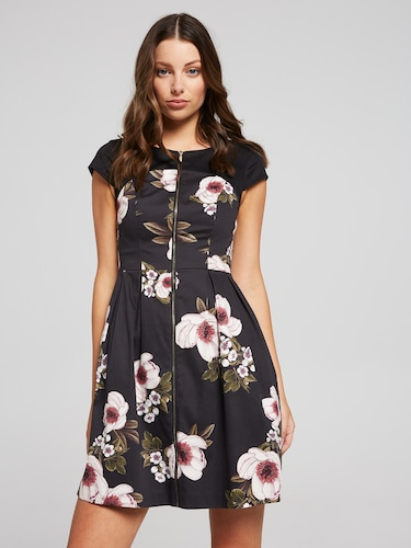 Ornate Floral Fit & Flare Dress