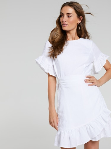 Isla Ruffle Wrap Linen Dress