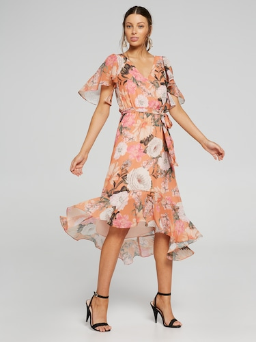 Resort Floral Wrap Dress