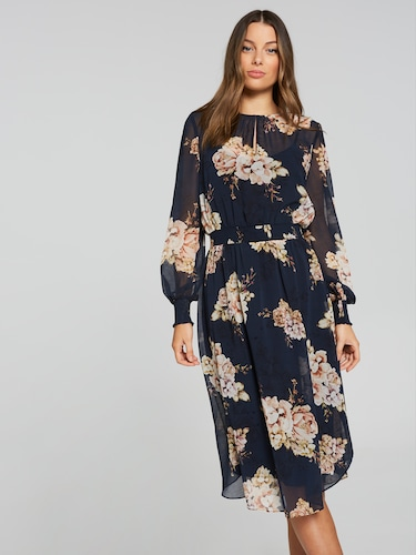 Alessia Shirred Midi Dress