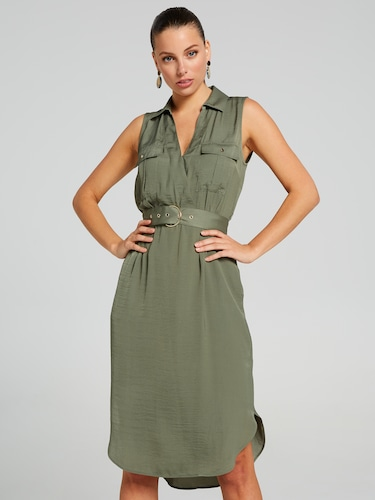 Sylvie Sleeveless Shirt Dress