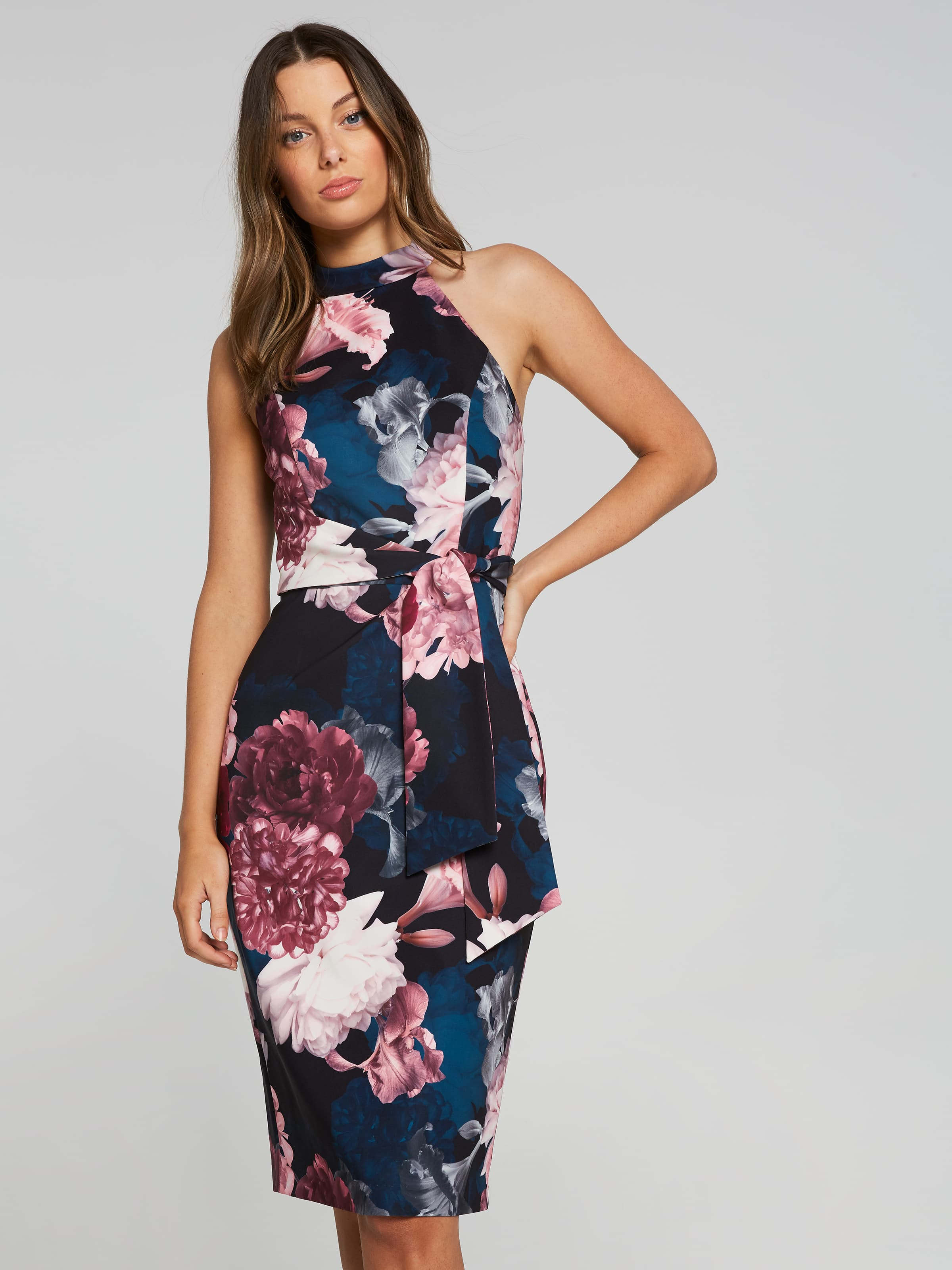 Shadow Floral Tie Waist Dress